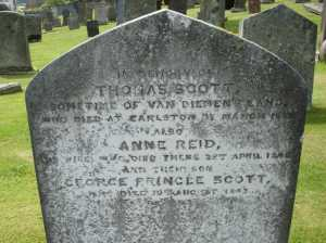 1843 - 1855 SCOTT-REID - Thomas, Anne, George Pringle - Earlston Churchyard
