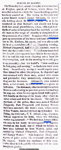 1850 ATKINSON James report of murder Nov 20th 1850