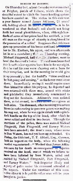1850 ATKINSON James report of murder Nov 20th 1850