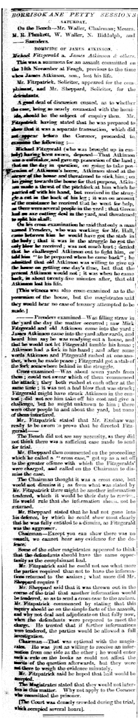Atkinson - James - Assault and Manslaughter charges 30 Novemerb 1830